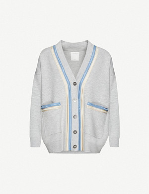 SANDRO Contrast-tape woven cardigan