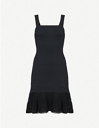 SANDRO: Smocky knitted mini dress