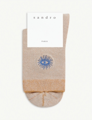 SANDRO Eye motif glitter lurex socks