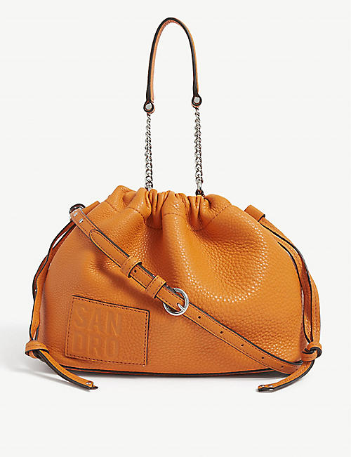 SANDRO: Olga leather bucket bag