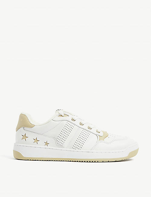 SANDRO: Leather star motif trainers