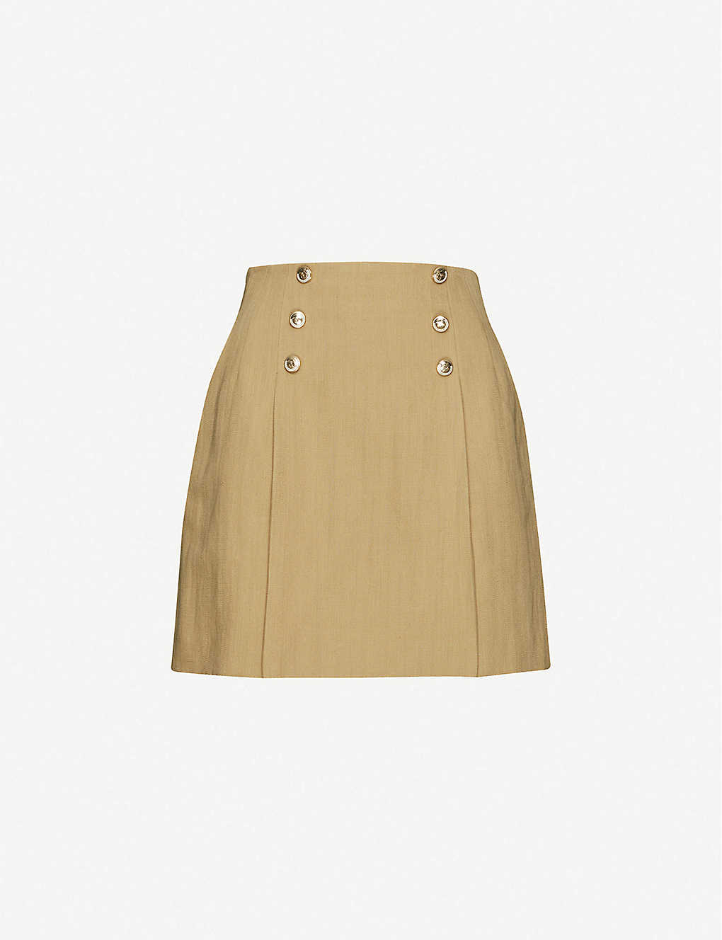 SANDRO: Parisa button-embellished cotton and linen-blend mini skirt