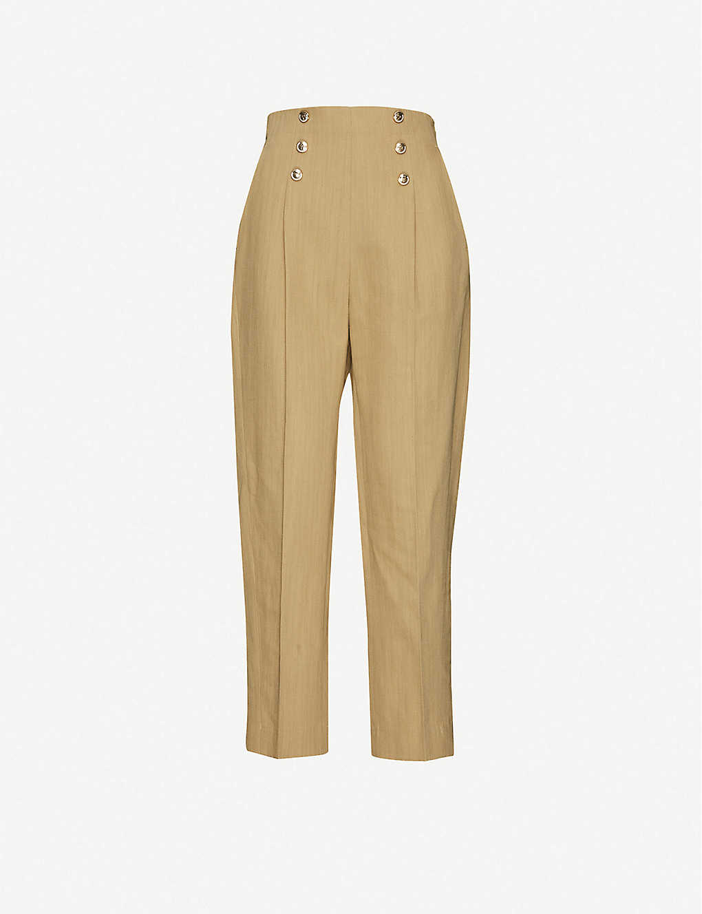SANDRO: Parisale tapered high-rise cotton and linen-blend trousers
