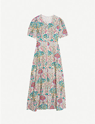 SANDRO: Irya floral-print linen and cotton-blend midi dress
