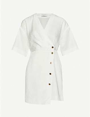SANDRO: Harpie wrap-over jacquard mini dress