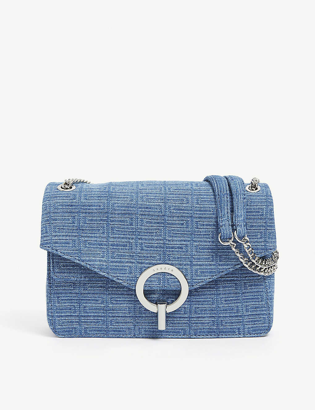 SANDRO: YZA printed denim shoulder bag