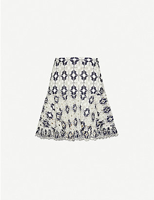 SANDRO: Floral-embroidered cotton-blend mini skirt