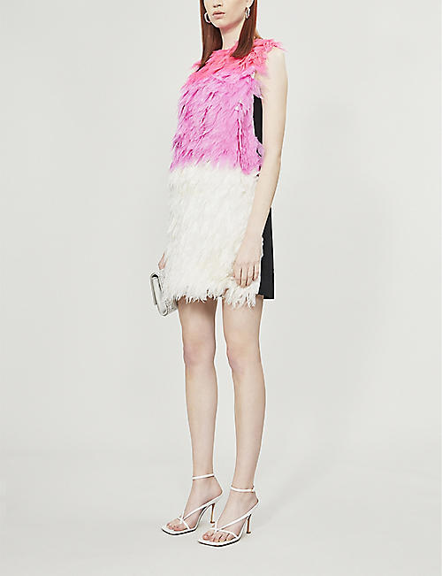 VESTIAIRE COLLECTIVE Victoria Victoria Beckham feathered silk mini dress