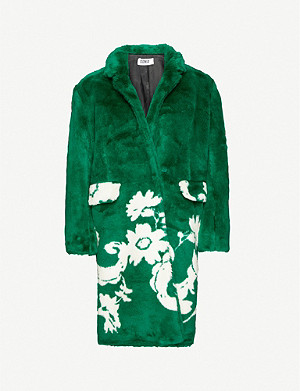 VESTIAIRE COLLECTIVE Sonia By Sonia Rykiel floral-print faux-fur coat