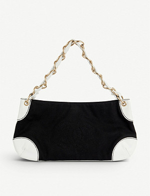 VESTIAIRE COLLECTIVE Chanel leather and cloth shoulder bag