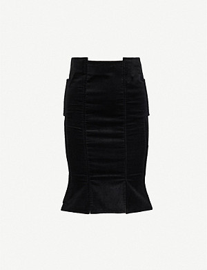 VESTIAIRE COLLECTIVE Gucci Velvet Mid-Length Skirt
