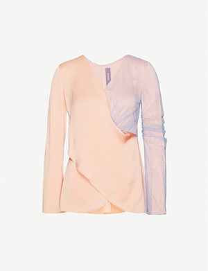 VESTIAIRE COLLECTIVE Sies Marjan layered satin and mesh blouse
