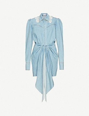 VESTIAIRE COLLECTIVE Magda Butrym spread-collar denim mini dress