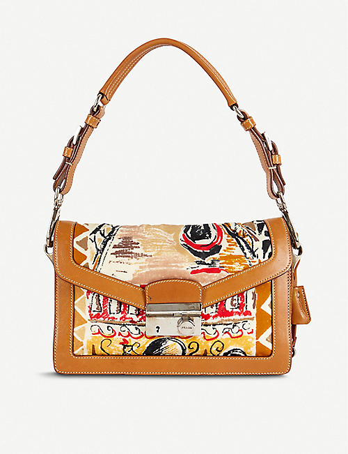 VESTIAIRE COLLECTIVE: Prada printed leather and cloth shoulder bag