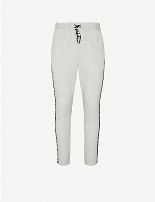 A BATHING APE: Logo-embroidered jersey jogging bottoms