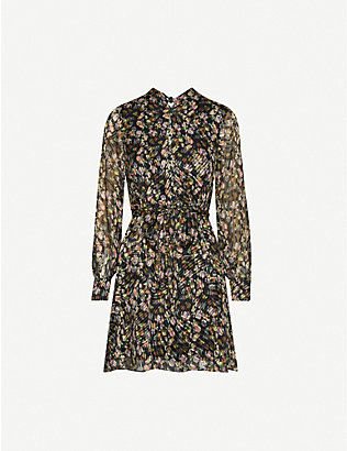 REISS: Phillippa floral-print chiffon mini dress