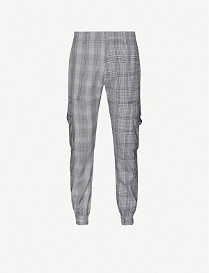 JUUN J Chequered-print cargo tailored-fit wool trousers