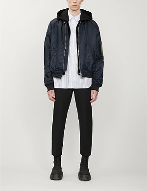 JUUN J Text-embroidered drawstring-hood woven bomber jacket