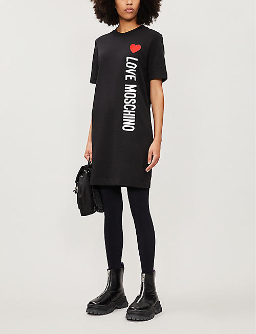 LOVE MOSCHINO Heart-print cotton-jersey mini dress