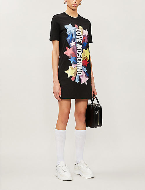 LOVE MOSCHINO Graphic-print cotton-jersey mini dress