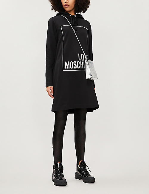 LOVE MOSCHINO Lamé logo-print hooded stretch-cotton mini dress