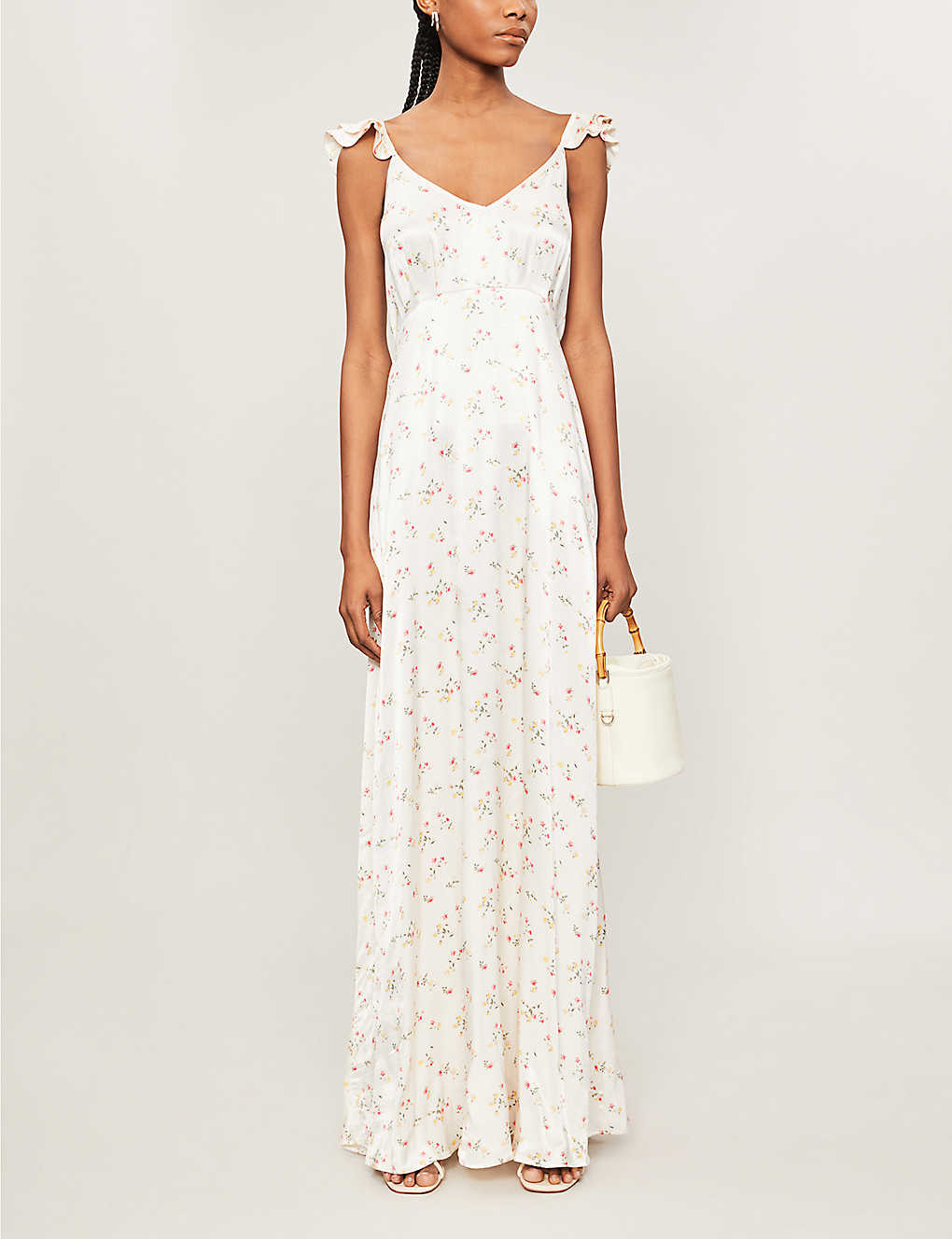 GHOST: Dahlia floral-print satin maxi dress