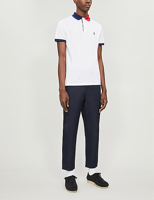 POLO RALPH LAUREN Contrast collar cotton-jersey polo shirt