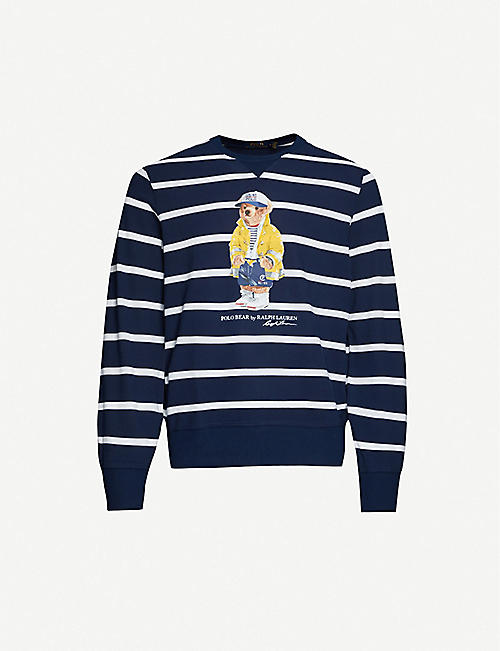 POLO RALPH LAUREN Polo Bear striped cotton-blend jersey sweatshirt