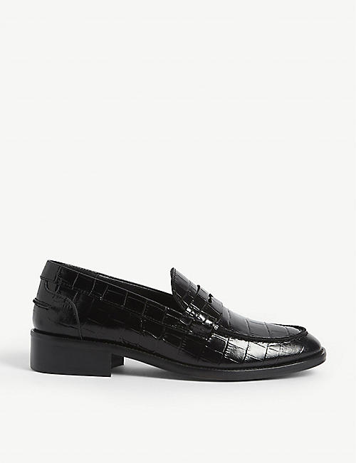 MAJE Croc-embossed leather loafers