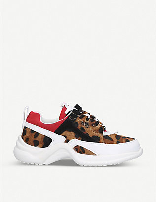 KURT GEIGER LONDON: Mini Lunar leopard-print trainers 4-7 years