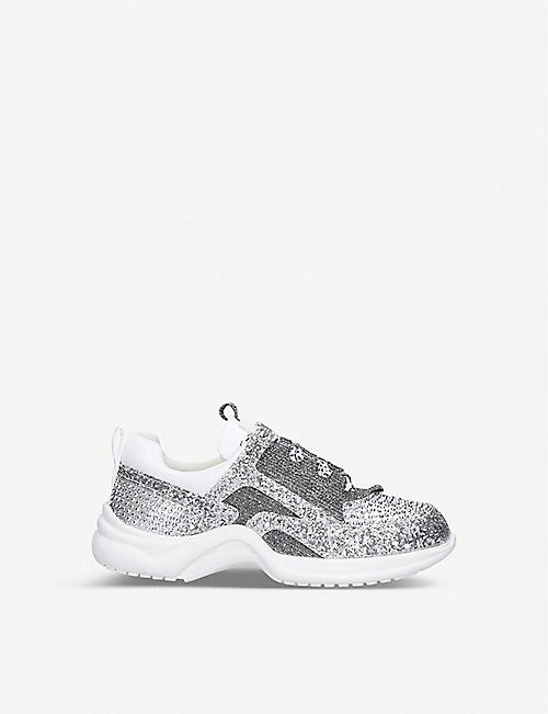 KURT GEIGER LONDON: Mini Lunar glitter-embellished trainers 4-7 years