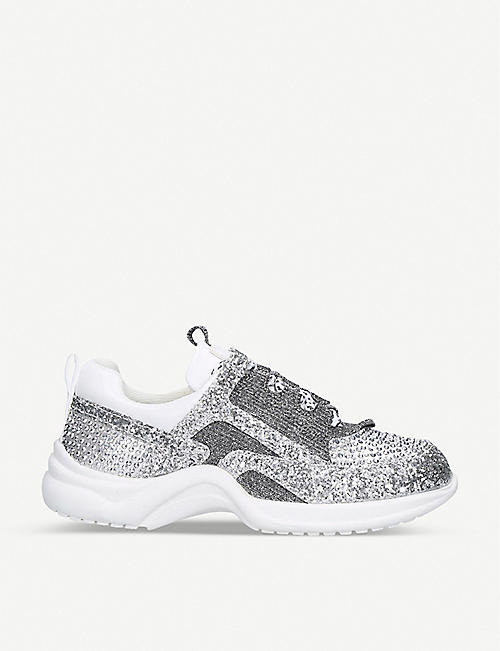 KG BY KURT GEIGER: Mini Lunar glitter-embellished trainers 7-10 years