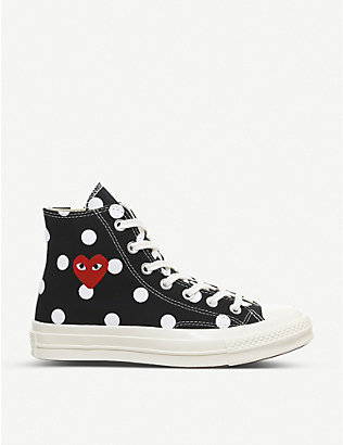 COMME DES GARCONS: Comme des Gar?ons x Converse 70s spotted canvas high-top trainers