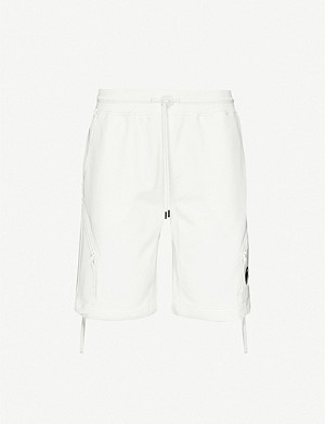 CP COMPANY Lens-embellished cotton-jersey shorts