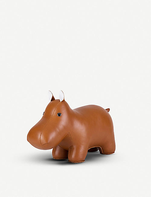 ZUNY: Hippo faux-leather doorstop 24cm