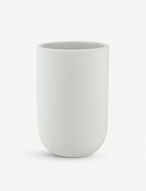 METTE DITMER: Lotus ceramic and rubber bathroom tumbler 10cm