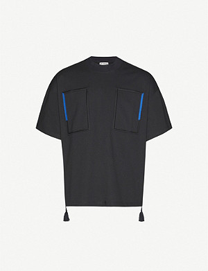 JIL SANDER Embroidered oversized cotton-jersey T-shirt