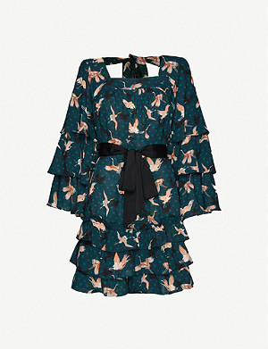 HAPPY X NATURE Bird-print ruffled crepe mini dress