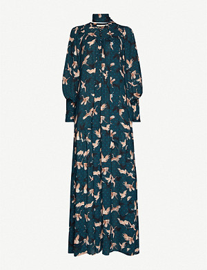 HAPPY X NATURE Muse bird-print crepe midi dress