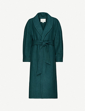 HAPPY X NATURE Belted wool-blend coat