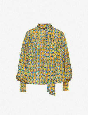 HAPPY X NATURE Wanderlust geometric-print crepe blouse