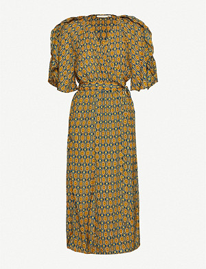 HAPPY X NATURE Geometric-print recycled polyester midi wrap dress