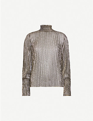 L'AGENCE: Paola metallic turtleneck shell top