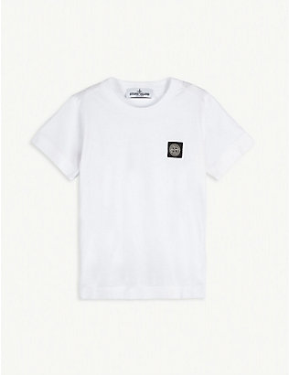 STONE ISLAND: Logo patch cotton T-shirt 4-14 years