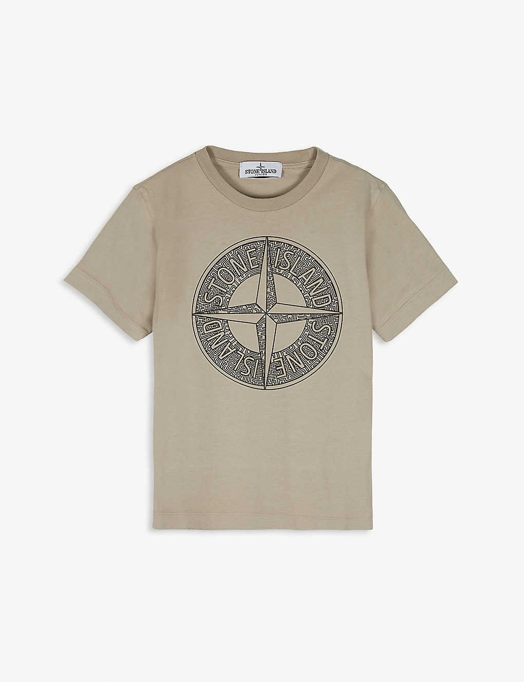 STONE ISLAND: Compass logo cotton T-shirt 4-14 years