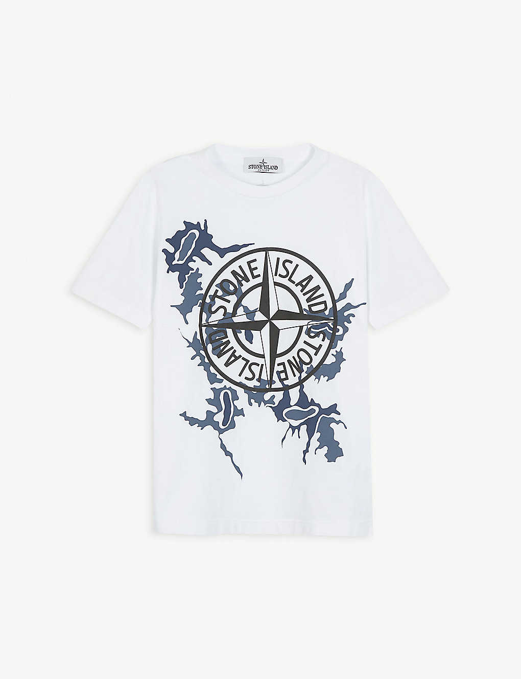 STONE ISLAND: Camouflage compass-print cotton T-shirt 4-14 years