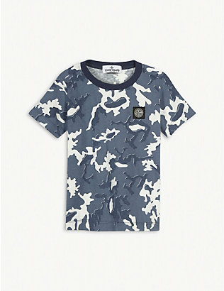 STONE ISLAND: Camouflage print cotton T-shirt 4-14 years