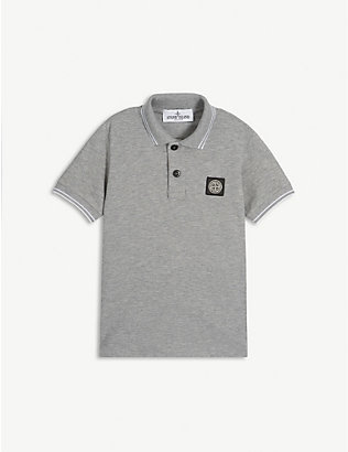 STONE ISLAND: Logo patch cotton-blend polo shirt 4-14 years