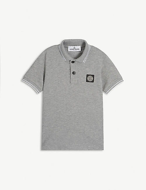 STONE ISLAND Logo patch cotton-blend polo shirt 4-14 years