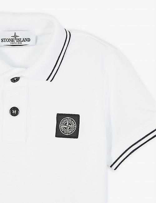STONE ISLAND Logo-striped cotton-blend polo shirt 4-14 years